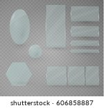 set of glass plates. vector... | Shutterstock .eps vector #606858887