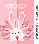 happy easter day  vector... | Shutterstock .eps vector #606859883