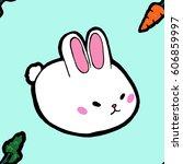 seamless easter white rabbit... | Shutterstock .eps vector #606859997