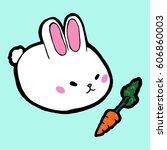 easter white rabbit with orange ... | Shutterstock .eps vector #606860003