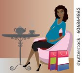 cute african american pregnant... | Shutterstock .eps vector #606864863