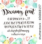 cute calligraphy letters.... | Shutterstock .eps vector #606868157