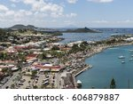 Small photo of Overview of the harbour of Marigot on St. Maarten.