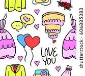 vector illustration of wedding... | Shutterstock .eps vector #606885383