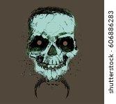 original hand drawn skull... | Shutterstock .eps vector #606886283