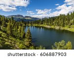 gorgeous lakescape and woods in ... | Shutterstock . vector #606887903