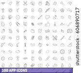 100 app icons set in outline...