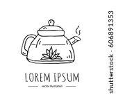 hand drawn doodle tea pot icon  ... | Shutterstock .eps vector #606891353