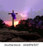 Sunset And Cross With Purple...