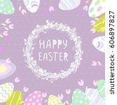 easter eggs in a wicker nest ... | Shutterstock .eps vector #606897827