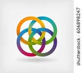 four interlocked rings in... | Shutterstock .eps vector #606898247