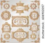 vintage golden retro frames... | Shutterstock .eps vector #606902057
