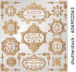 vintage golden retro frames... | Shutterstock .eps vector #606902063