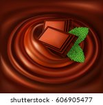 chocolate swirl background with ... | Shutterstock .eps vector #606905477