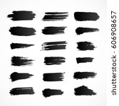 set of different black brush... | Shutterstock .eps vector #606908657