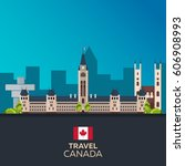 travel to canada. america.... | Shutterstock .eps vector #606908993