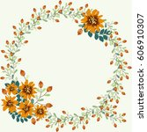 floral round frames from cute... | Shutterstock .eps vector #606910307
