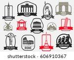 famous monuments and landmarks... | Shutterstock .eps vector #606910367