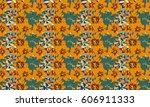 seamless delicate pattern of... | Shutterstock .eps vector #606911333