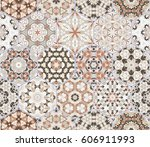 a rich set of hexagonal ceramic ... | Shutterstock .eps vector #606911993
