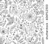 hand drawn floral pattern....   Shutterstock .eps vector #606912503