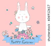happy easter card with cute...   Shutterstock .eps vector #606912617