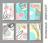 set of artistic colorful... | Shutterstock .eps vector #606913157
