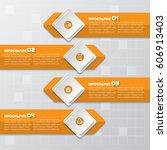 vector abstract 3d paper... | Shutterstock .eps vector #606913403