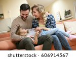 happy family spending time with ... | Shutterstock . vector #606914567