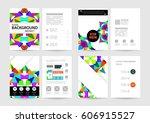 memphis geometric background... | Shutterstock .eps vector #606915527