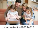 happy family spending time at... | Shutterstock . vector #606916313