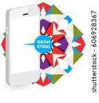 mobile phone icon with trendy... | Shutterstock .eps vector #606928367