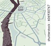 abstract vector city map  flat... | Shutterstock .eps vector #606930767