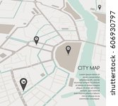 abstract vector city map  flat... | Shutterstock .eps vector #606930797