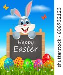 easter greeting card with... | Shutterstock .eps vector #606932123