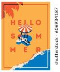 Summer Holiday and Summer Camp poster. | Shutterstock vector #606934187