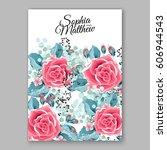 red rose wedding invitation... | Shutterstock .eps vector #606944543