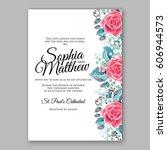 red rose wedding invitation... | Shutterstock .eps vector #606944573