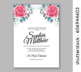 red rose wedding invitation... | Shutterstock .eps vector #606944603
