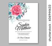 red rose wedding invitation... | Shutterstock .eps vector #606944633