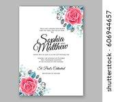 red rose wedding invitation... | Shutterstock .eps vector #606944657