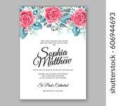 red rose wedding invitation... | Shutterstock .eps vector #606944693
