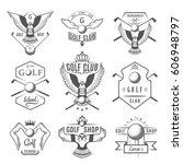 vector set of vintage golf club ... | Shutterstock .eps vector #606948797