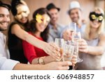 friends with masks on holding... | Shutterstock . vector #606948857