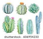watercolor set of cactus ... | Shutterstock . vector #606954233