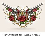 Stock vector pair of crossed guns and rose flowers drawn in tattoo style vector illustration 606977813