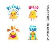 chicken composition stickers... | Shutterstock .eps vector #606982403
