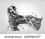 silhouette of girl in the... | Shutterstock .eps vector #606984257