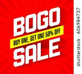 bogo sale  buy one and get one... | Shutterstock .eps vector #606984737