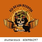 women's skull and flowers ...   Shutterstock . vector #606986297